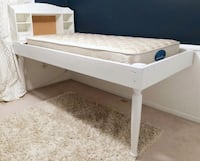 White Wooden Twin Bed with Mattress Crofton, 21114