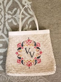 Wicker bag with embroidery