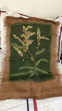 Brown, green and red textile vintage needlepoint burlap wall hanging