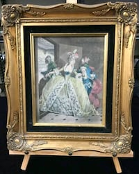 Vintage Print in Ornate Wood Gold frame Whitby