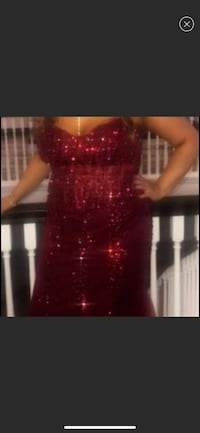 Red jovani beaded gown