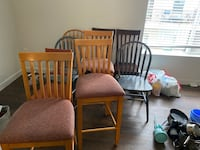 Assorted chairs. 5$ each. Few tall bar chairs, few regular size dining chairs.