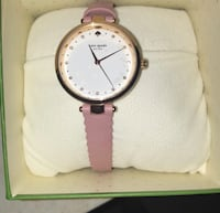 Round white analog watch with pink leather strap Lowell, 46356