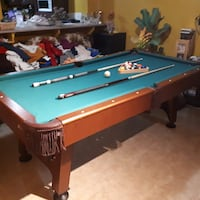 Blue and brown wooden pool table Sherwood Park, T8A 3N4
