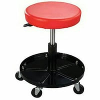 round pink leather padded rolling seat