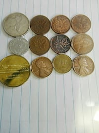 round gold-colored coin collection