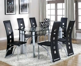 7 Piece Brand new from Actual Store!Echo Black/Silver Dining Room Set