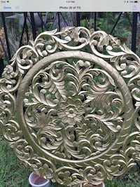 """(Large 35.5""""H or almost 3 feet) Metallic gold Carved Wood wall medallion.Retailed:$245 Houston, 77055"""