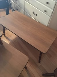 rectangular brown wooden table with two chairs Montréal, H1Z 3N2