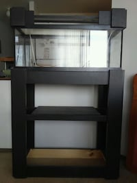 Fish tank and stand . 20 gallon tank with painted wood stand.