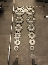 Barbell with weights and storage tree