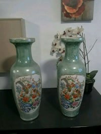 two white-and-blue floral ceramic vases Mississauga, L4T 2W9