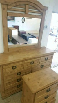 Set of a dresser with mirror & night stand real wo Plantation
