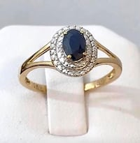 10K Gold Custom Double Halo Sapphire Ring ** Stunning !