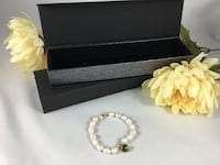 """New Chinese Freshwater Pearl Bracelet w/ Light Green  CZ Stone and 1/20 14K Gold Filled Findings, 5 1/4"""" size XS, elegant gift box included Chesapeake, 23320"""