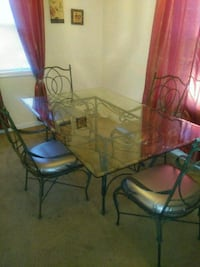 rectangular glass top table with four chairs dinin La Plata, 20646