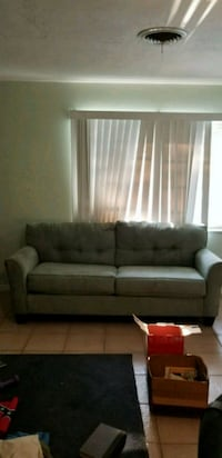 Couch, loveseat, glass table, mint color