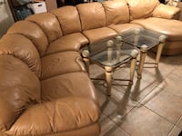Leather 4 pcs sectional, 2 glass end tables and 2 bar stool Suffolk, 23435