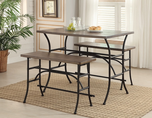 NEW 3pc Domingo Dining Table Set W/ 2 Benches