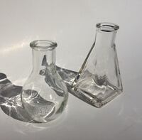 2 small glass jar vase containers (approx. 4 to 4.5 inches tall) - $1 for BOTH! Chantilly