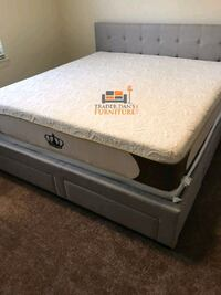 Brand New Queen Size Grey Upholstered Platform Bed w/4 Storage Drawers Silver Spring, 20902