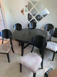 All wood black dining table with six chairs Virginia Beach, 23453
