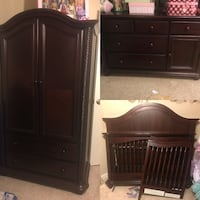 Brown wooden armoire with chifferobe and bed frame Fresno, 93730