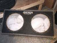"""black and white subwoofer box for two 12"""" Brockton, 02301"""
