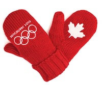 VANCOUVER OLYMPICS RED CABLE KNIT MITTS GLOVES SIZE MED-LARGE NEW WITH TAGS London