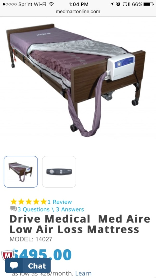Used Brown Wooden Drive Medical Med Aire Low Air Loss Mattres S For