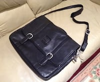 Black leather laptop / messenger bag Laurel