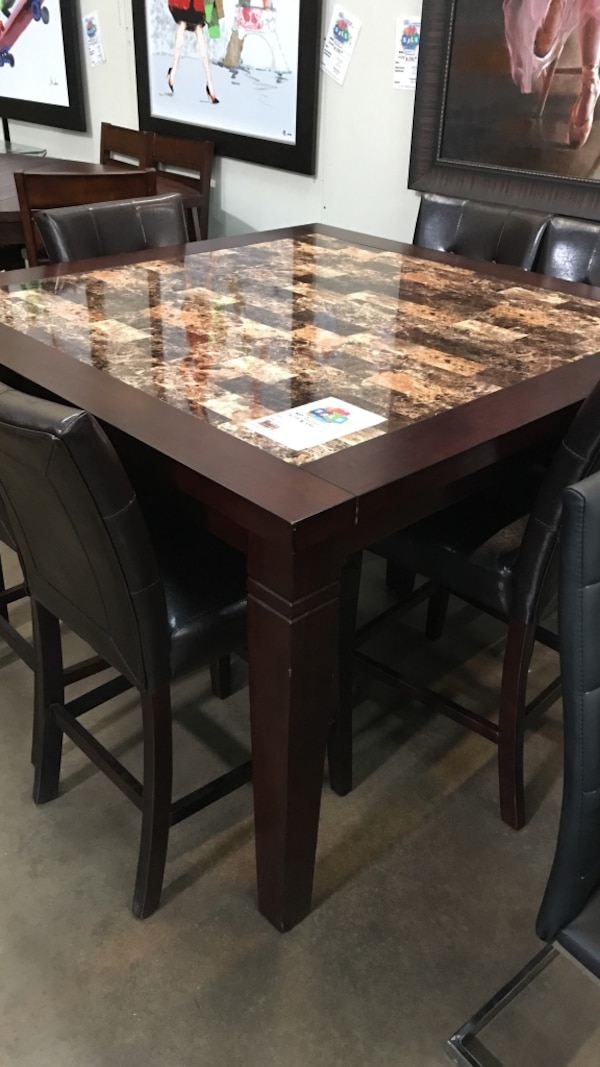 Brown Wooden Granite Top Dining Table