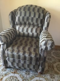 Gray and white fabric sofa chair