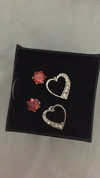 two pairs of silver-colored red and clear gemstone earrings Middle Island, 11953
