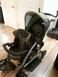 baby's black and gray tandem stroller 3143 km