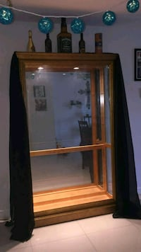 brown wooden framed glass display cabinet Hialeah, 33010