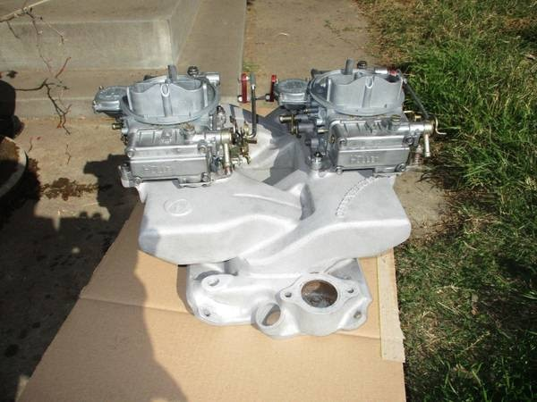 used offenhauser chevy 350 cross ram intake manifold holley carburetors sbc for sale in. Black Bedroom Furniture Sets. Home Design Ideas