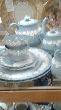 gray and white floral ceramic tea set Plano, 75074