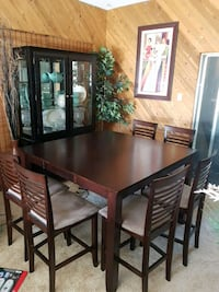 rectangular brown wooden table with six chairs din Surrey, V3S 4M3