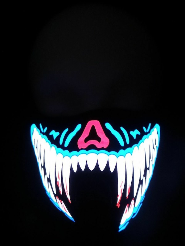 Blue Teeth LED Sound Activated Rave Mask