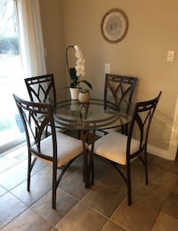 round glass top table with four chairs dining set Kitchener, N2H