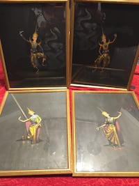 HANDS PAINTED Frames of 4 Beautiful water colors from Indonesia sing by the artist size 11.7x15 Newport Beach, 92660