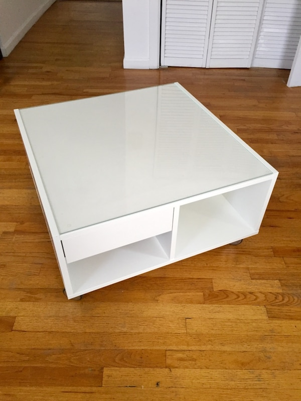 Square White Coffee Table With Storage