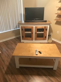 brown and white wooden TV stand