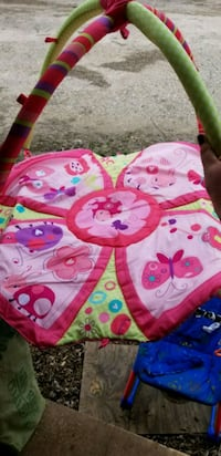 pink and white Minnie Mouse print textile play mat Crocker, 65452