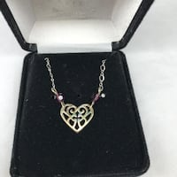 """Sterling silver necklace Bob Siemon filigree heart with cross 18"""""""