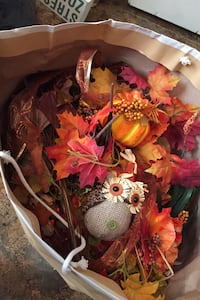 Large bag of loose fall leaves and decor