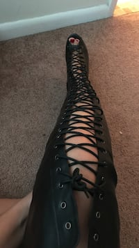 Women's black leather gladiator boot