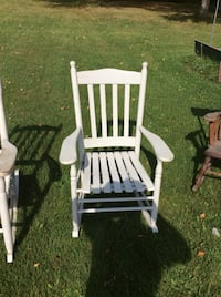 white wooden windsor rocking chair