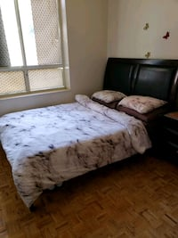 Complete queen bed set with side table and mattress